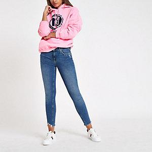 Roze fluoriserende hoodie met  'L'amour'-print