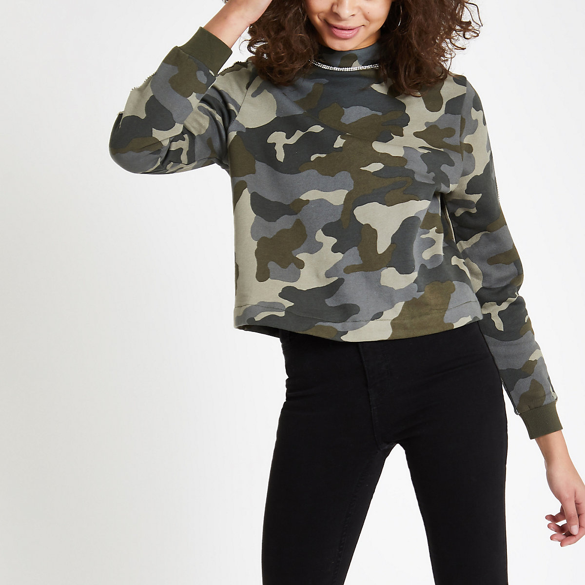 Khaki camo print rhinestone trim sweatshirt