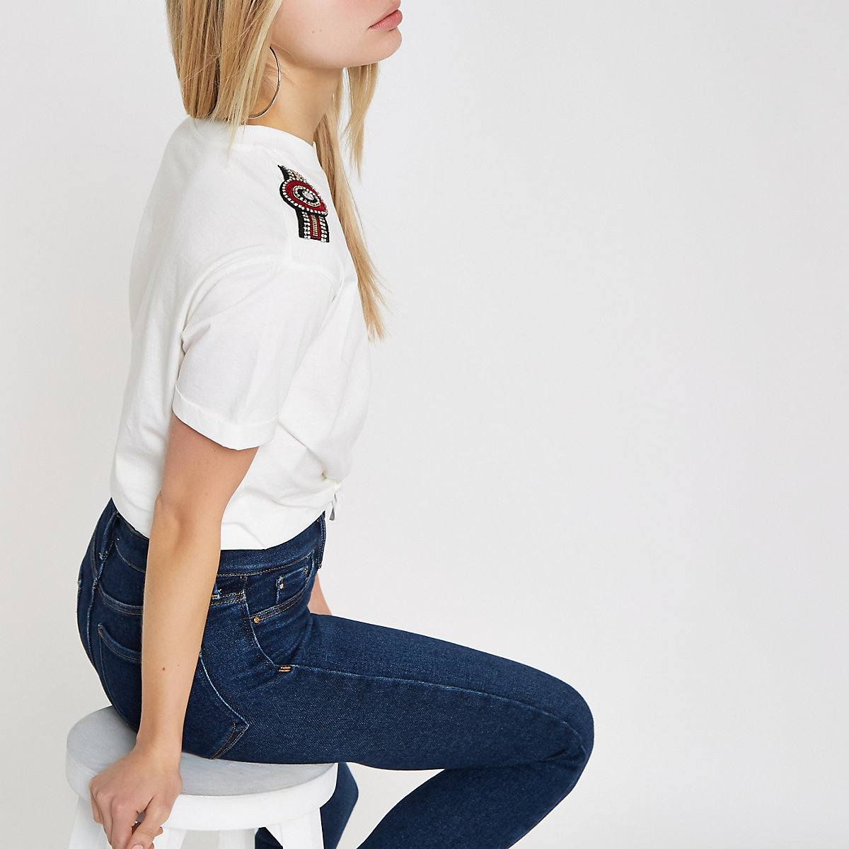 White embellished knot front T-shirt