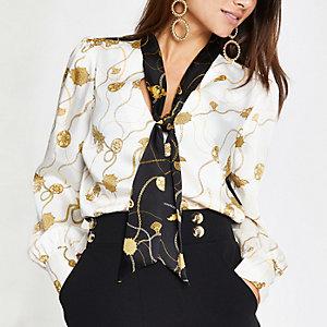 Petite cream baroque print tie neck blouse