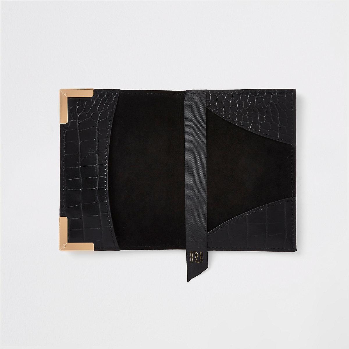 Black croc embossed passport holder - Travel - Bags   Purses - women 46e207e8a35a