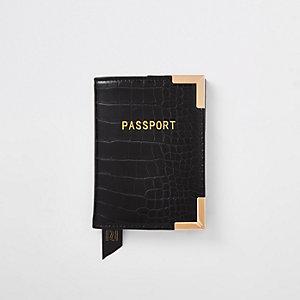 Zwarte paspoorthouder met krokodillenprint in reliëf