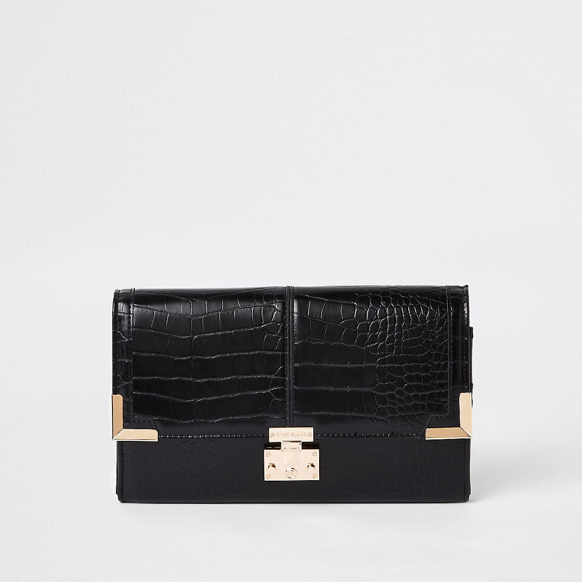 Black croc embossed travel wallet
