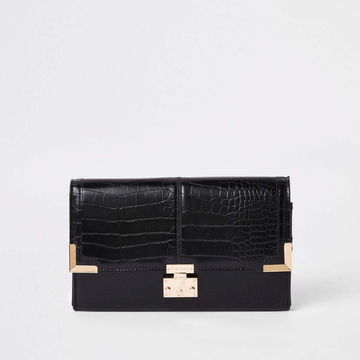 Black croc embossed travel wallet