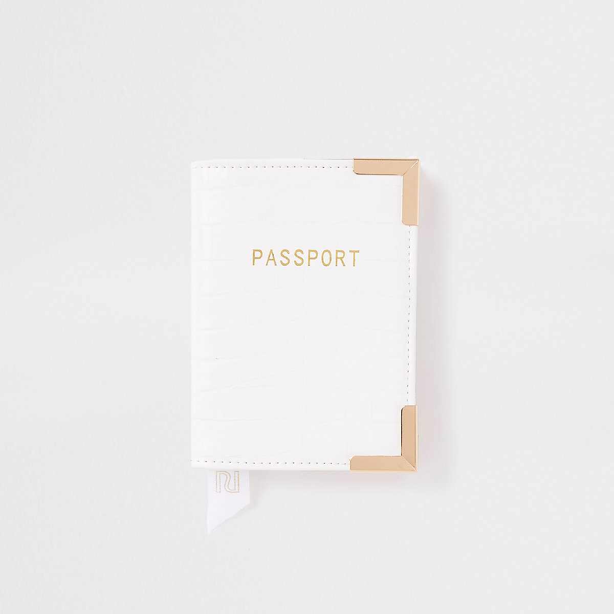 White croc embossed passport holder