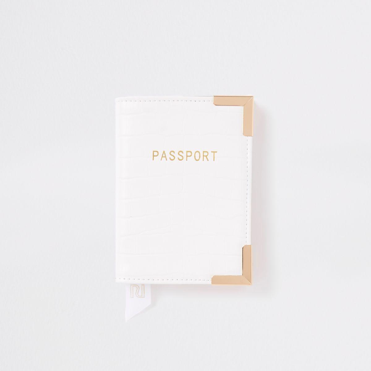 White croc embossed passport holder