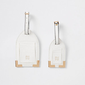 White croc embossed luggage tag set