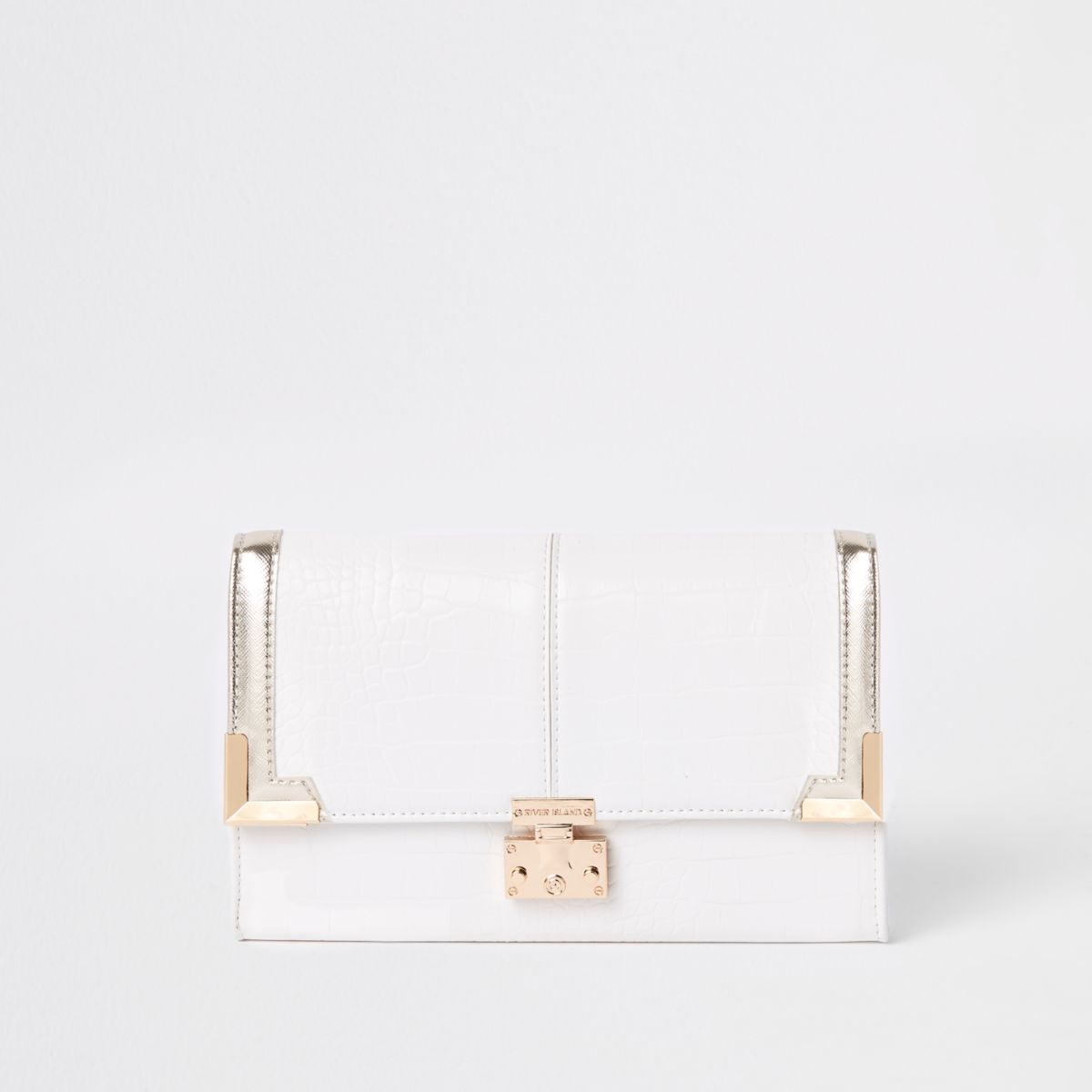 White croc embossed travel wallet