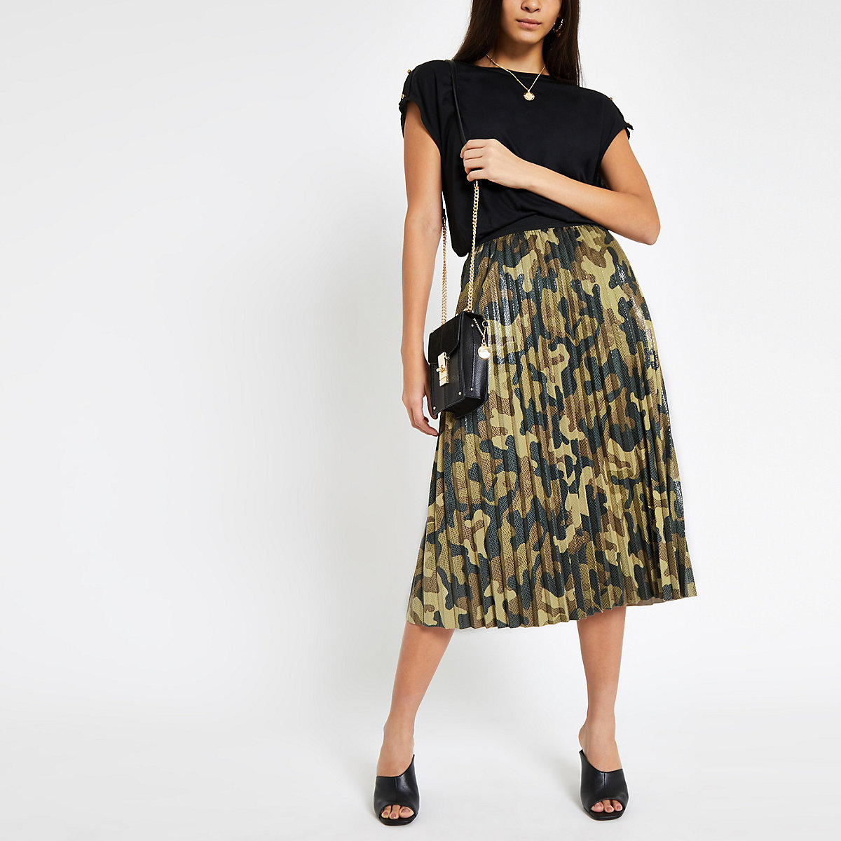 Khaki camo print pleated skirt