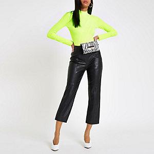 Yellow fluroscent ribbed high neck top