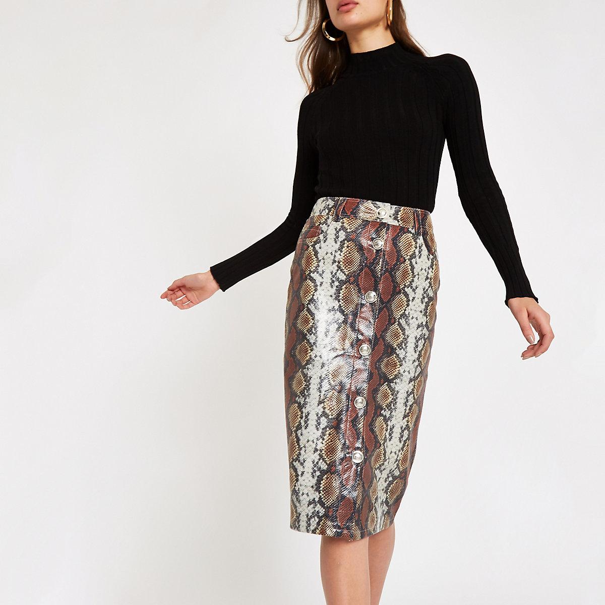 Brown faux leather snake print pencil skirt - Midi Skirts - Skirts - women 99910c318