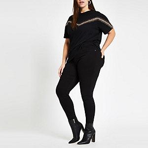 Plus black leopard print trim T-shirt
