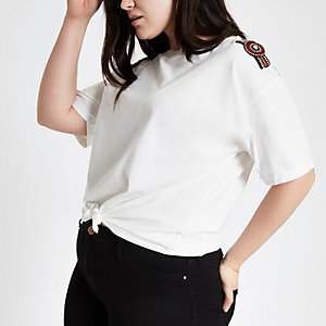 Plus white embellished tie front T-shirt