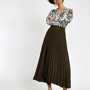 Brown wrap pleated midi skirt