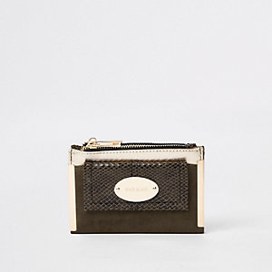Khaki front pocket mini foldout purse