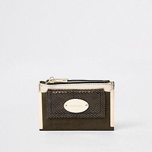 Kaki kleine uitvouwbare portemonnee met vak voor