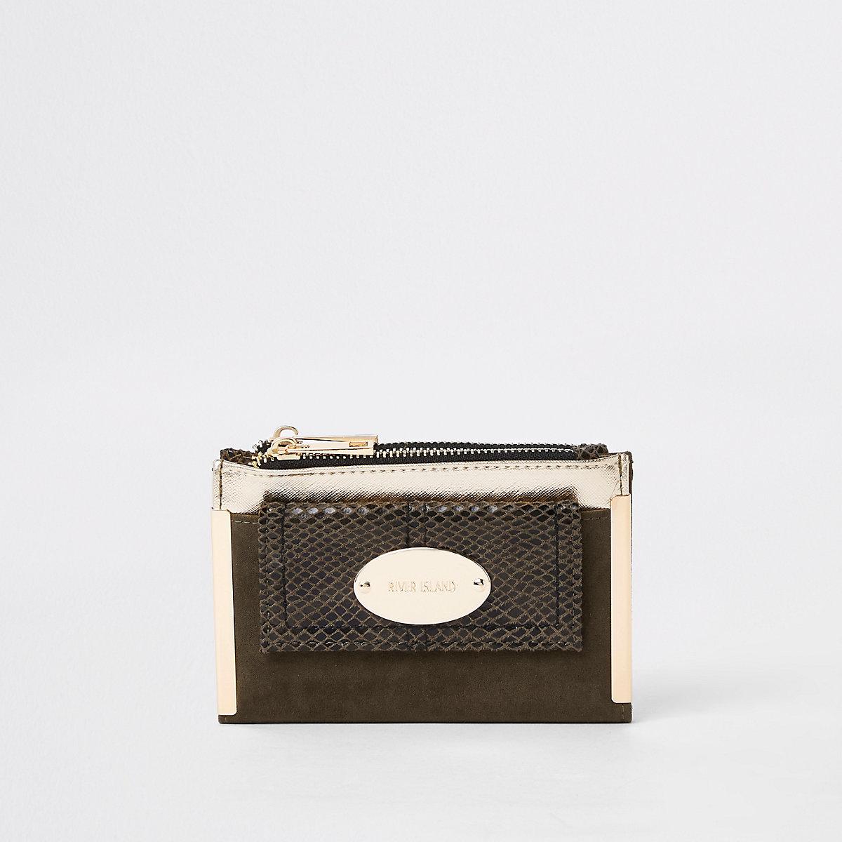 Khaki front pocket mini foldout purse