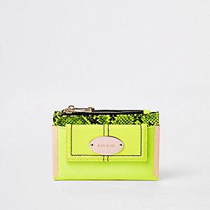 Neongroene kleine uitvouwbare portemonnee met vak voor