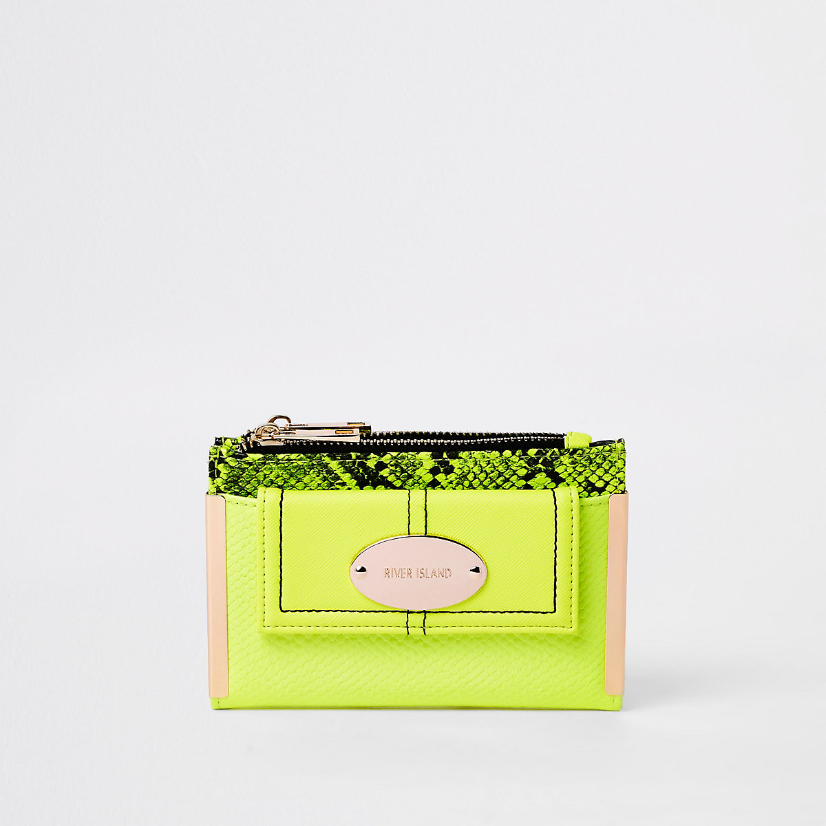 Neon green front pocket mini foldout purse