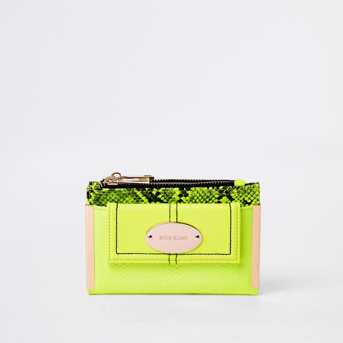 Neon green front pocket mini foldout purse