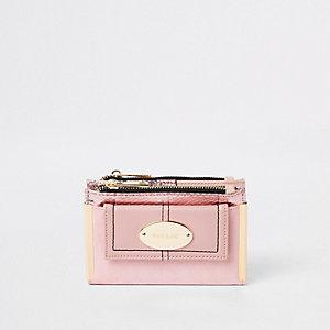 Roze kleine uitvouwbare portemonnee met vak voor