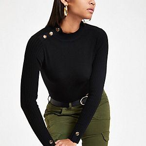Black button detail turtle neck top