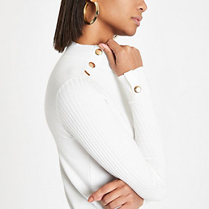 Cream button detail turtle neck top