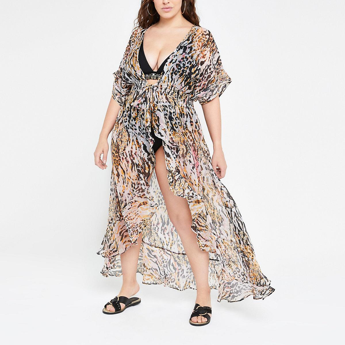 Plus brown animal print beach dress