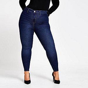 Plus – Kaia – Blaue Disco-Jeans mit hohem Bund