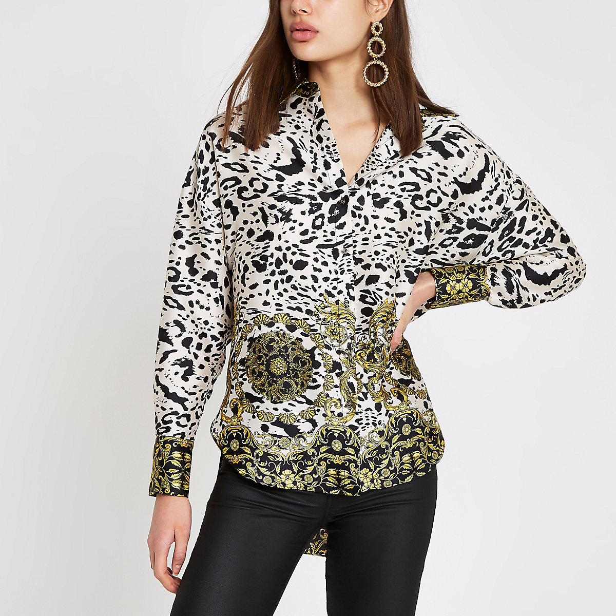 White leopard print long sleeve blouse