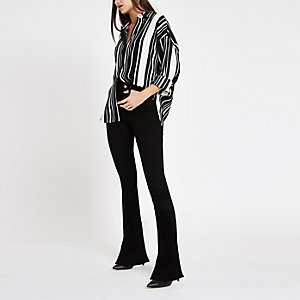 Black stripe long sleeve blouse