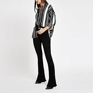 Zwarte gestreepte blouse met lange mouwen