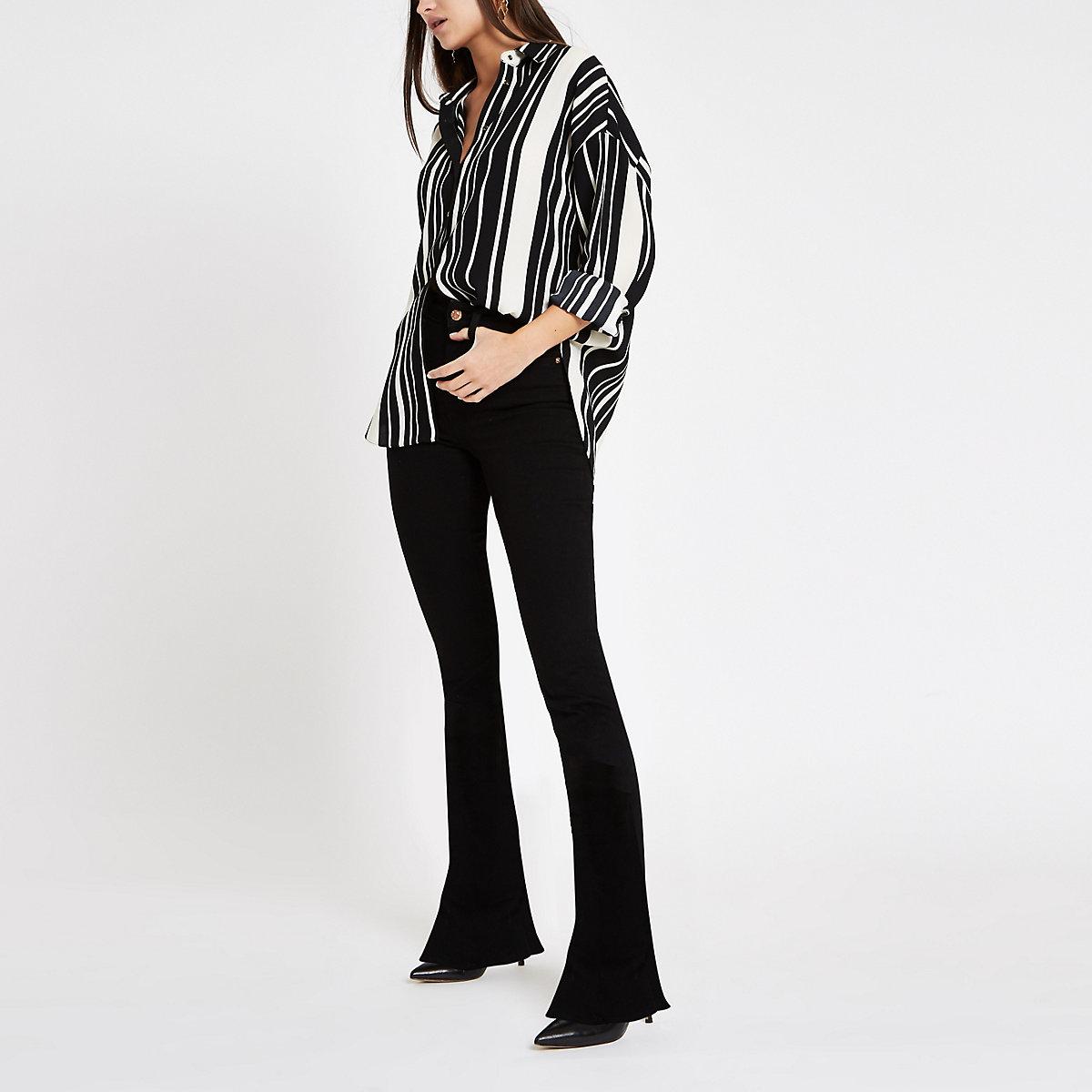 Black stripe long sleeve blouse