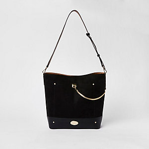 Black chain front slouch bag