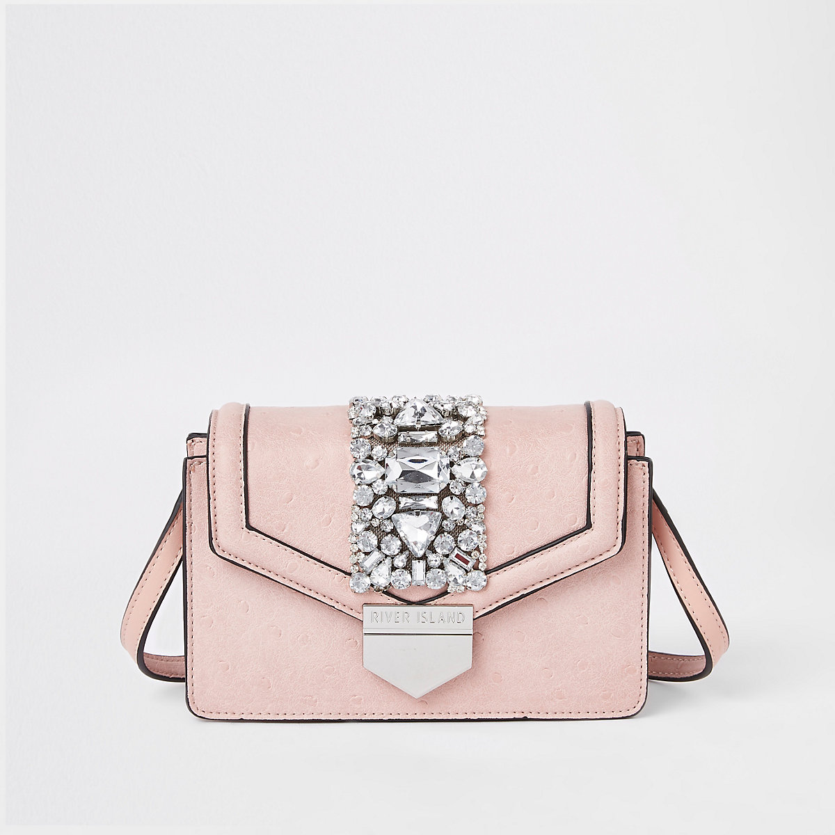 Pink boxy embellished cross body bag