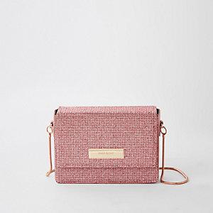 Pink diamante chain mini cross body bag