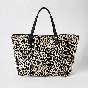 White leopard print beach tote bag