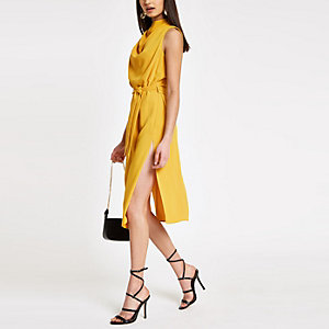Yellow cowl neck tie waist sleeveless dress