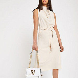 Beige cowl neck tie waist sleeveless dress