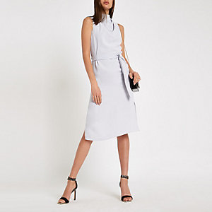 Blue cowl neck tie waist sleeveless dress