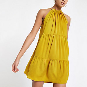 Yellow halter neck slip dress