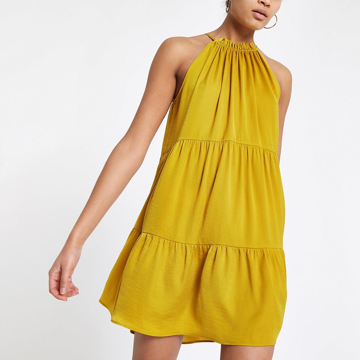 Yellow halter neck slip dress