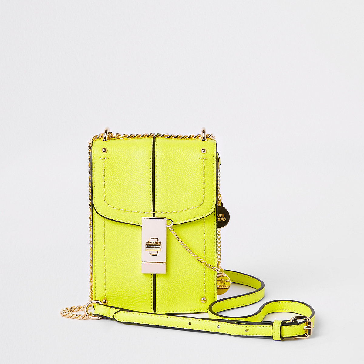 Neon yellow lock front cross body bag