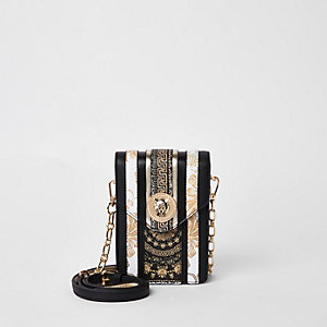 Black lion head cross body bag