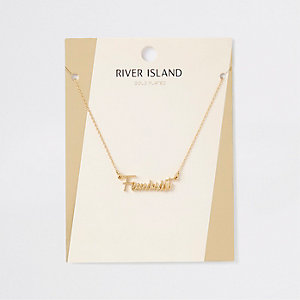 Gold plated 'Feminist' necklace