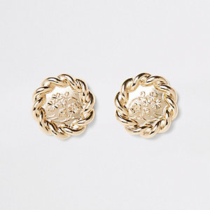 Gold color twist flower large stud earrings