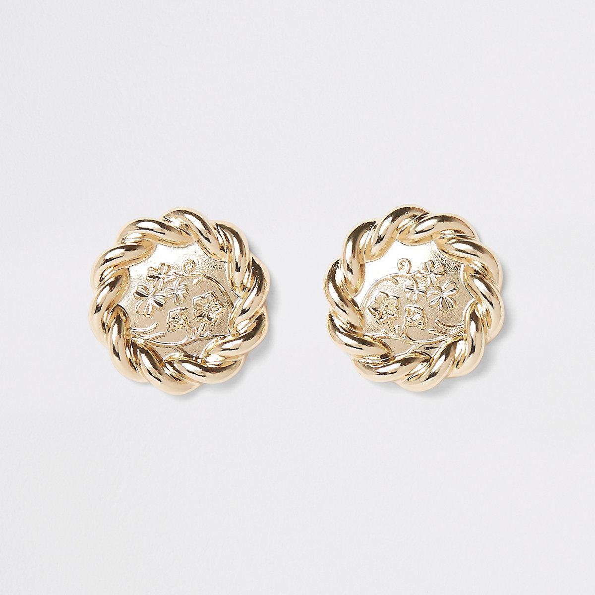 Gold color twist flower large stud earrings