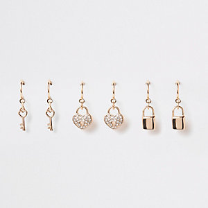 Gold color hoop charm earring multipack