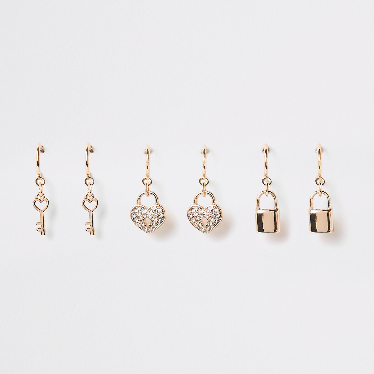 Gold colour hoop charm earring multipack