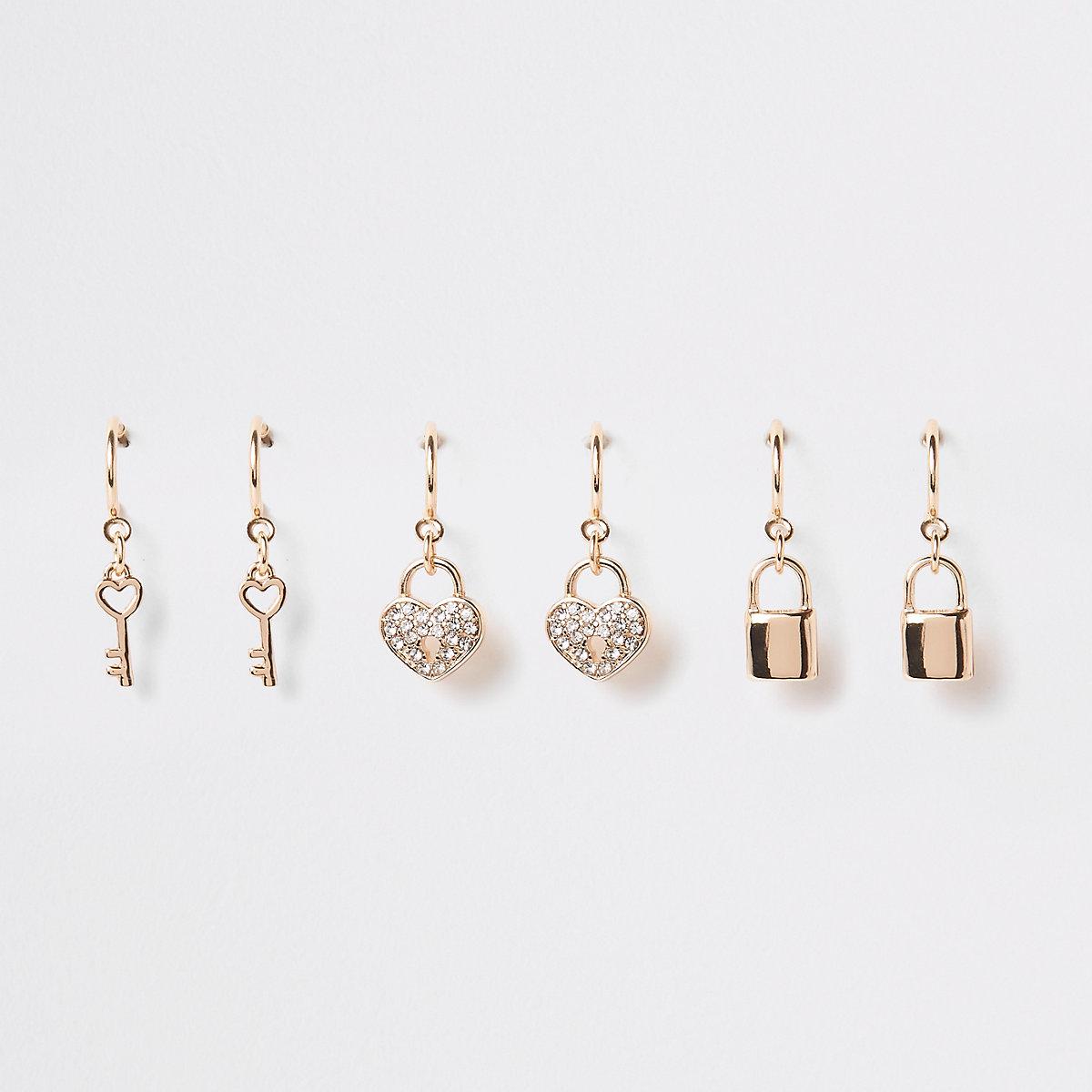 Gold tone hoop charm earring multipack